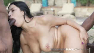 PrivateBlack - Dark Haired Hottie, Kira Queen Fucks 2 BBCs!