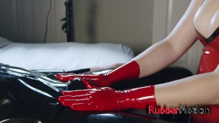Girl in Red Latex Gloves Makes Him Cum on her Tits (Slow Motion Video)