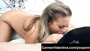 Slut Carmen Valentina gets a Halloween cum treat!