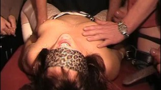 Naughty gangbang sisters mounted by plenty of men