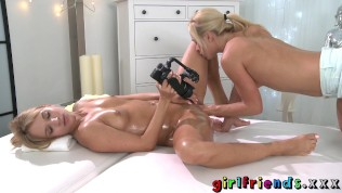 Girlfriends Blonde babes erotic fisting massage