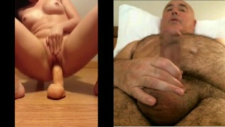Man masturbates watching horny girl