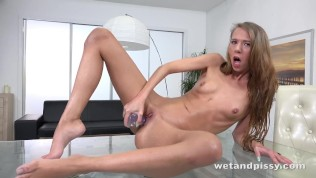 Wetandpissy - Paris Devine gets piss drenched while toying a jelly dildo