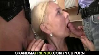 Granny swallows two cocks at job interview