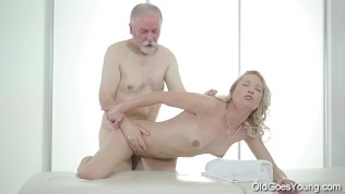 Sweetie opens pussy as wide as possible for an old cock