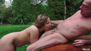 Grandpa Fucks Teen On Rainy Day and licks her tight pussy