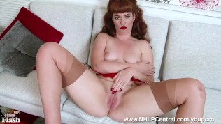 Redhead chick Zoe Page peels off retro red lingerie to tease her pert tits and lush smooth wet pussy