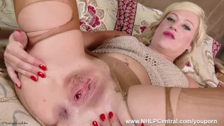Filthy horny blonde Axa finger fucking wet pussy hard in ripped nylon pantyhose to gaping orgasm