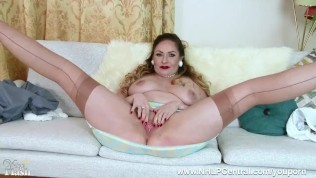 Busty natural brunette Sophia Delane masturbates wildly in open bottom vintage girdle and seamed nylon stockings