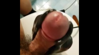 big cock cum with extreme vibrating toy