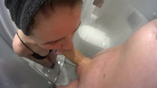 fast blowjob and cum in mouth in hotel shower room from wife