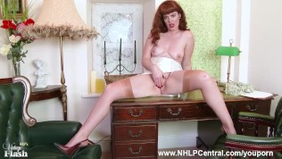 Redhead Madam Zoe Page plays game of tease and strip with Gardener showing off nyloned legs and beautiful bare trimmed pussy