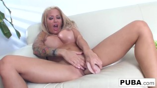 Hot Helly Hellfire deep throats a toy then plays with herself