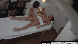 Brunette Sexy Babe Secretly Fucks on Massage Table