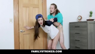 FamilyStrokes - Lesbian Stepsis Rides Her Stepbros Cock