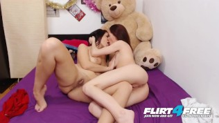 Flirt4Free Models Mela Diamond & Lexy Diamond - Sexy Lesbians Strap-On Dildos and Taste Each Other's Pussy