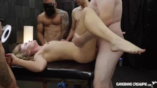 Skinny blonde gets gangbanged by the cocksmen