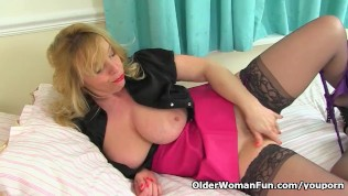 British milf Lucy Gresty dildos her eager fanny