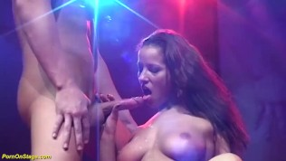 extreme deepthroat on public venus stage