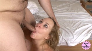 Blonde Swallows Cum After Rough Blowjob
