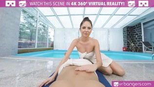 VRBangers Young Brunette Get Fucked Hard at the Pool Side