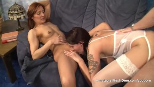Excited brunettes first threesome