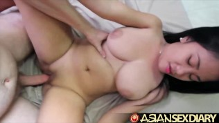 Asian Sex Diary - White cock fucks Asian babe with sensational tits