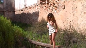 Stunning Axelle wanders around the ruins