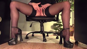 Secretary under desk masturbation