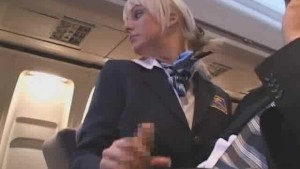 Sexy Stewardess Gives Handjob