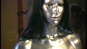 Lesbians completly painted in silver