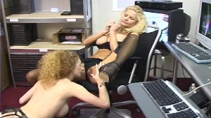 Two sexy girls working on porn films