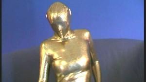 Arwen in golden spandex catsuit