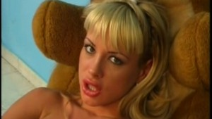Horny blonde and her dildo