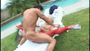 Lady in red fucked by the pool