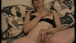 Mature lady rubs her clit then gets some cock