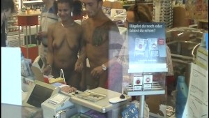 Naked couple at the convienence store