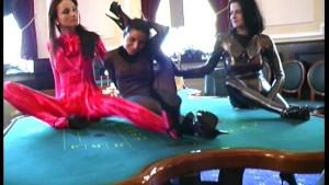 Flexible spandex lesbian casino strip