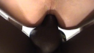 Big black cock in white butt huggars