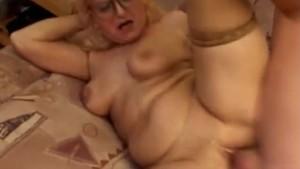 Granny fucked and a big facial cumshot