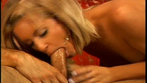 Slipping his cock down her throat