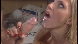 Squirting his load into her mouth