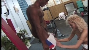 Skinny blonde rides his equipment