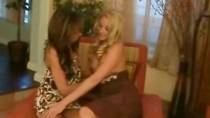 Lesbians wagging tongues on wet pussies