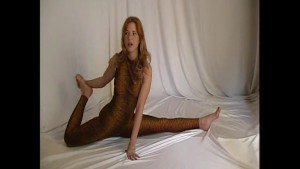 Redhead flexible Rachel in spandex