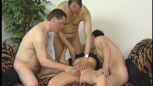 Horny older blonde with three guys