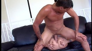 Tiny blonde pounded on a couch