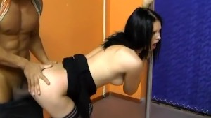Hot brunette girl get fucked by two in a dance studio