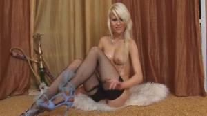 Sexy blonde in black lingerie toy masturbation