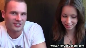Two guys try to seduce hottie into something nasty